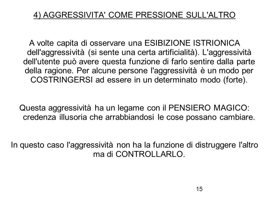 4) AGGRESSIVITA COME PRESSIONE SULL ALTRO