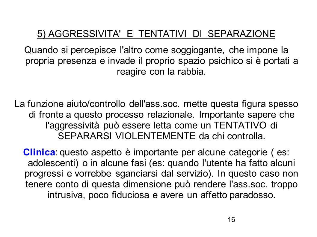 5) AGGRESSIVITA E TENTATIVI DI SEPARAZIONE