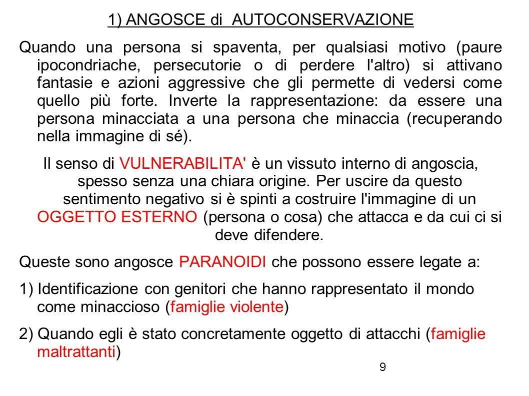 1) ANGOSCE di AUTOCONSERVAZIONE