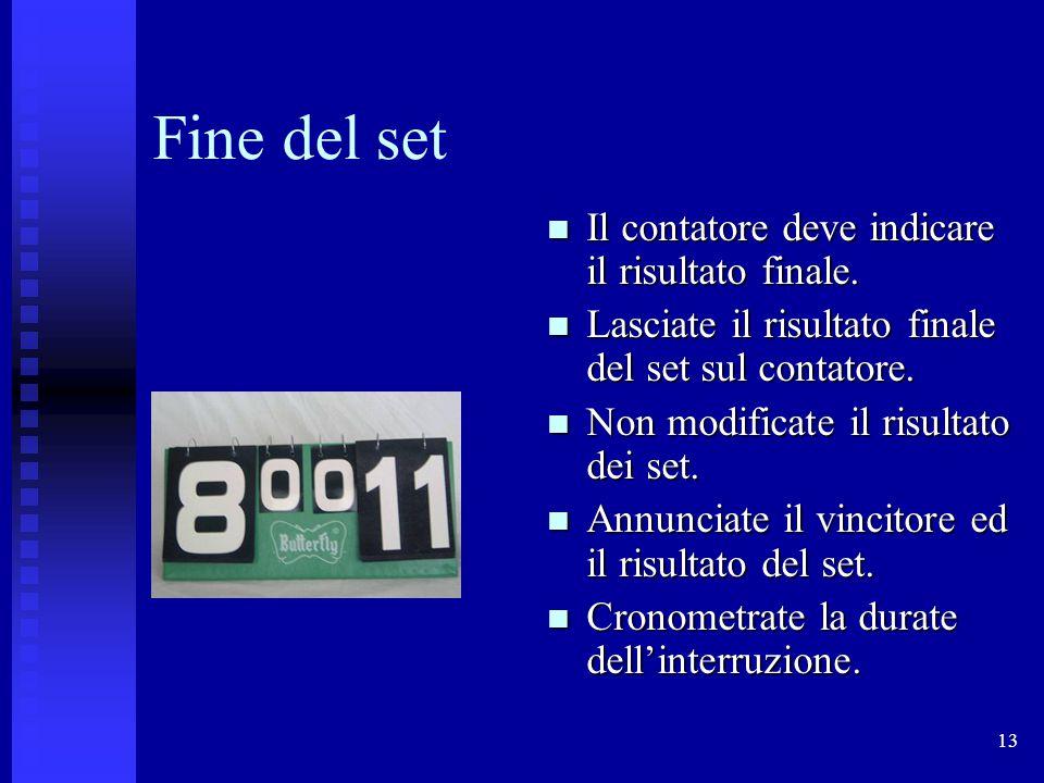 Fine del set Il contatore deve indicare il risultato finale.