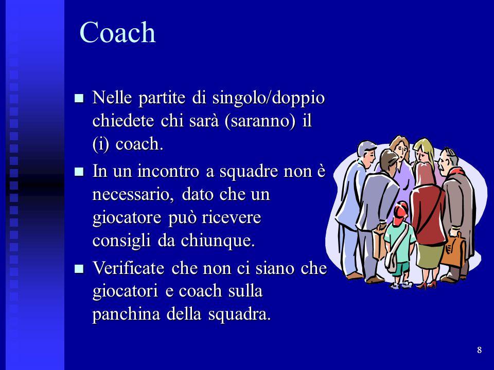 Coach Nelle partite di singolo/doppio chiedete chi sarà (saranno) il (i) coach.