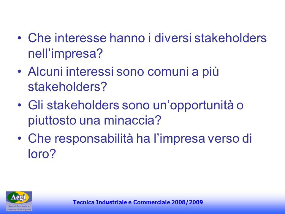 Che interesse hanno i diversi stakeholders nell'impresa