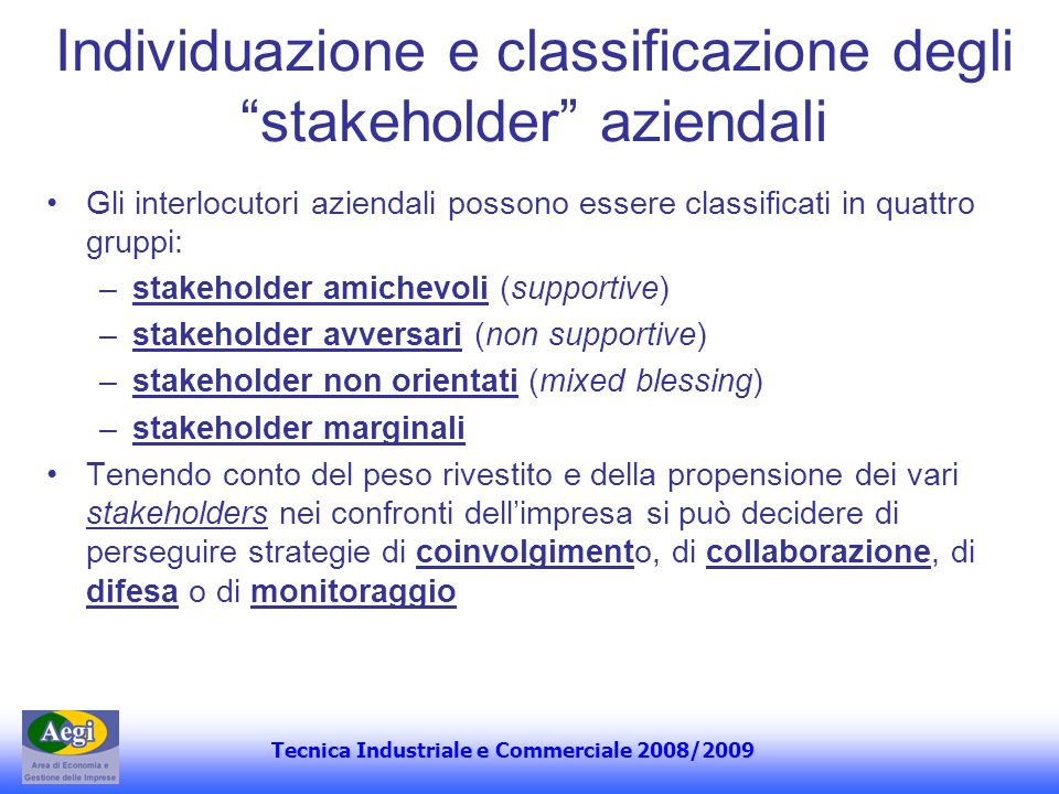 Individuazione e classificazione degli stakeholder aziendali