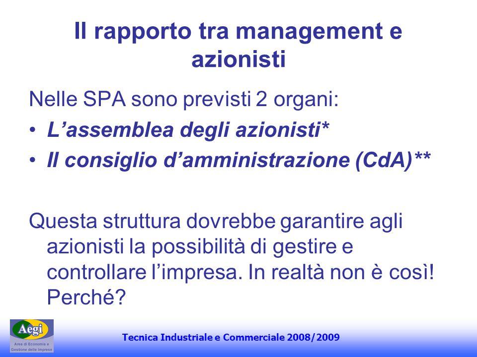 Il rapporto tra management e azionisti