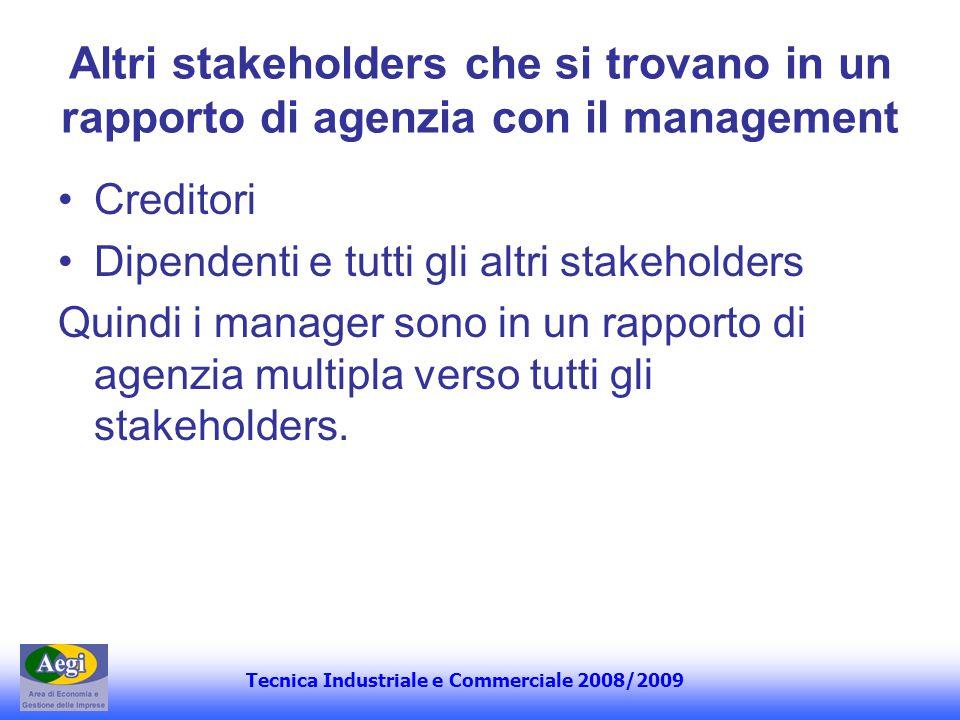 Altri stakeholders che si trovano in un rapporto di agenzia con il management