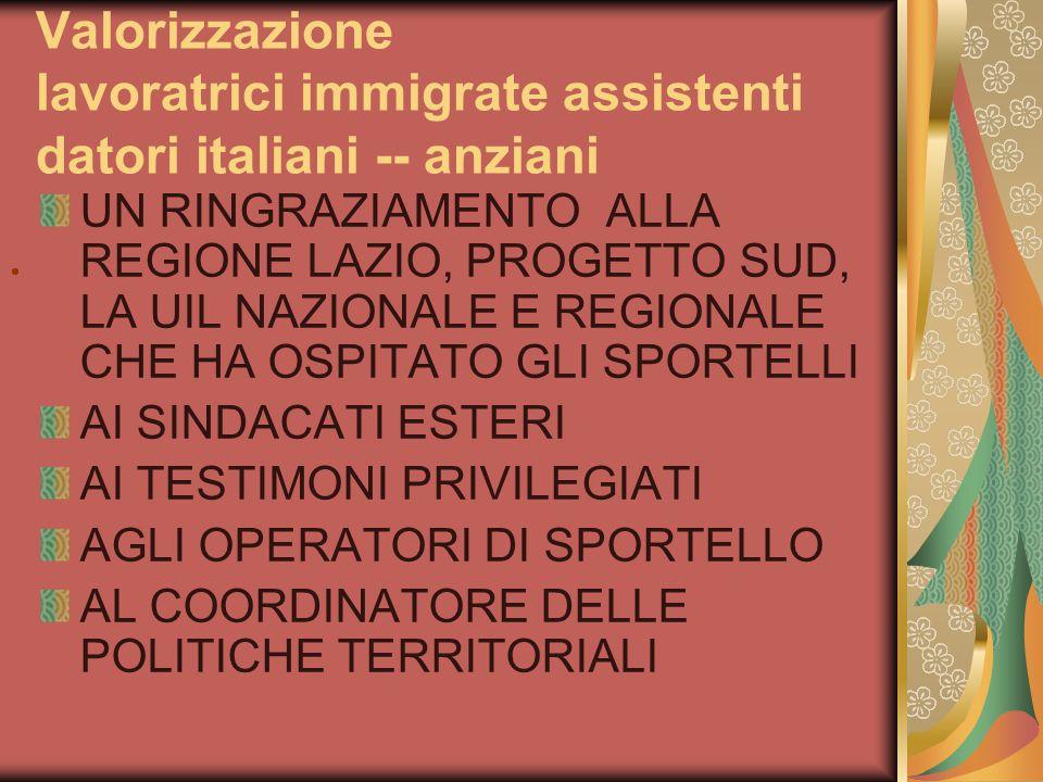 Valorizzazione lavoratrici immigrate assistenti datori italiani -- anziani