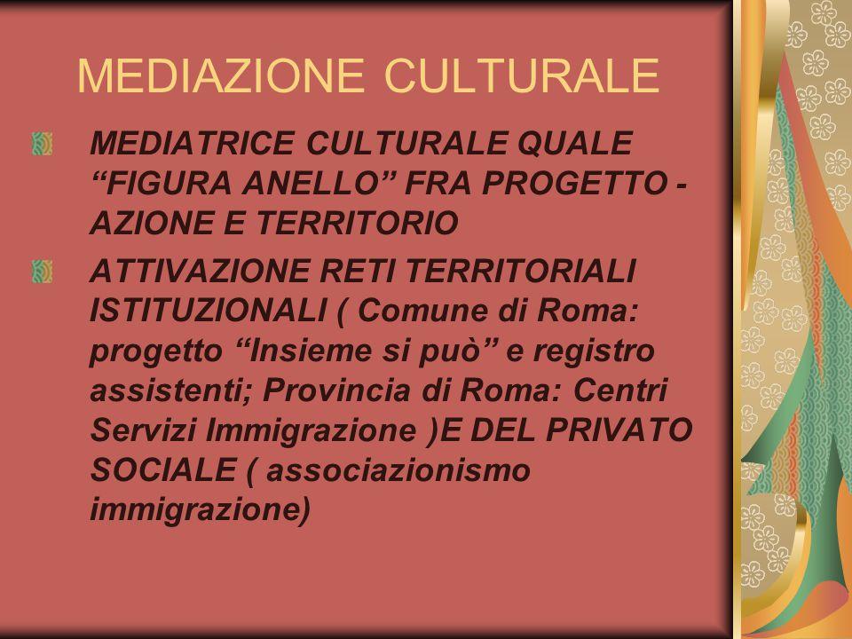 MEDIAZIONE CULTURALE MEDIATRICE CULTURALE QUALE FIGURA ANELLO FRA PROGETTO -AZIONE E TERRITORIO.