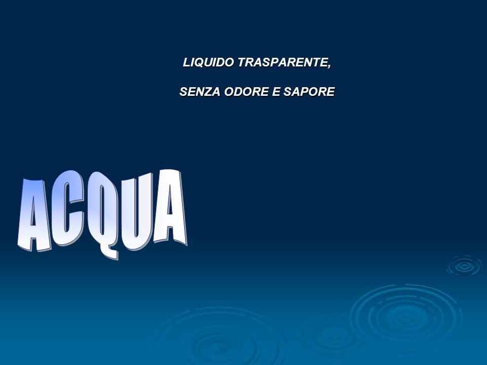 LIQUIDO TRASPARENTE, SENZA ODORE E SAPORE