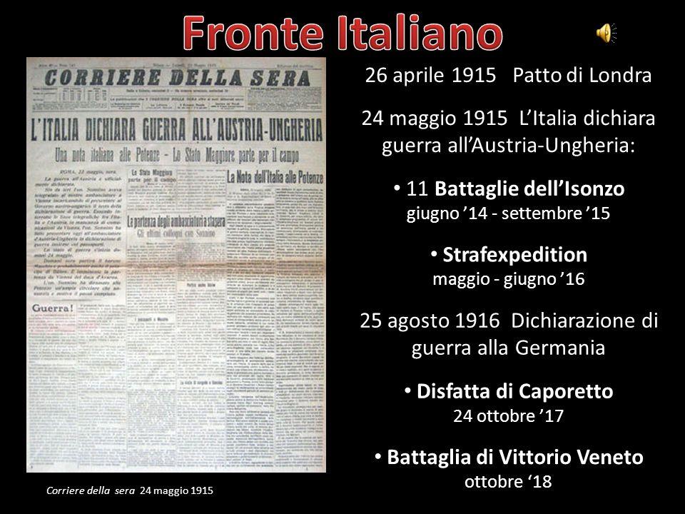 Fronte Italiano 26 aprile 1915 Patto di Londra