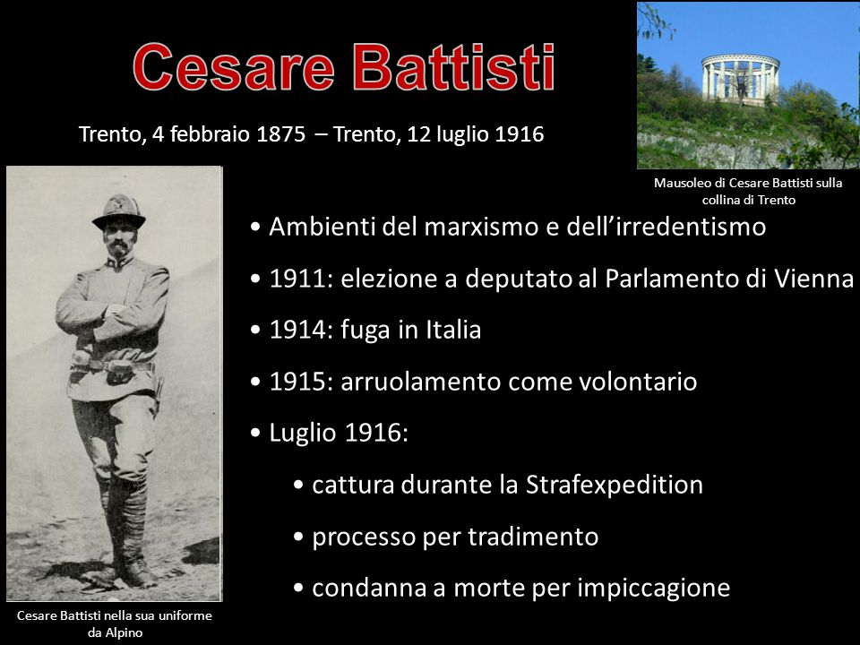 Cesare Battisti Ambienti del marxismo e dell'irredentismo