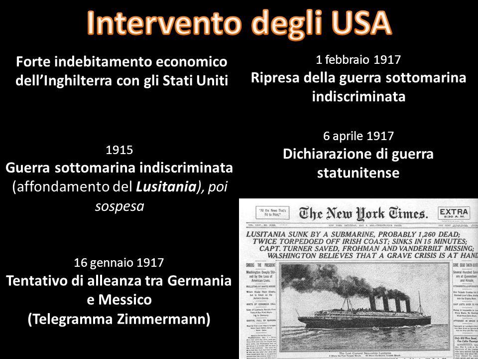 Intervento degli USA Forte indebitamento economico dell'Inghilterra con gli Stati Uniti. 1 febbraio 1917.