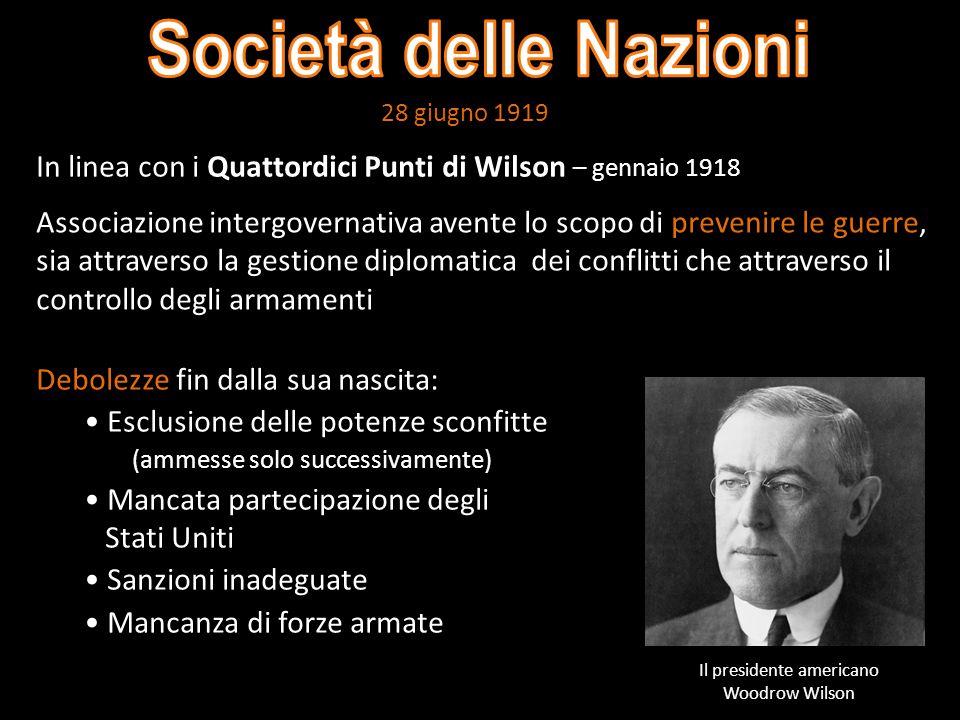 Il presidente americano Woodrow Wilson
