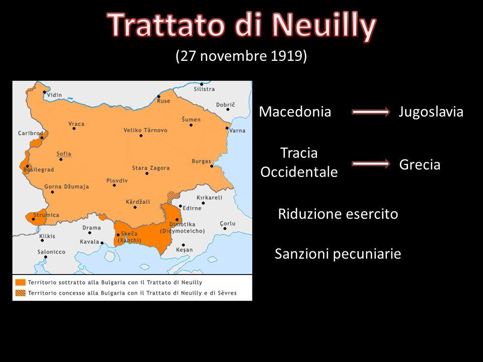 Trattato di Neuilly (27 novembre 1919) Macedonia Jugoslavia