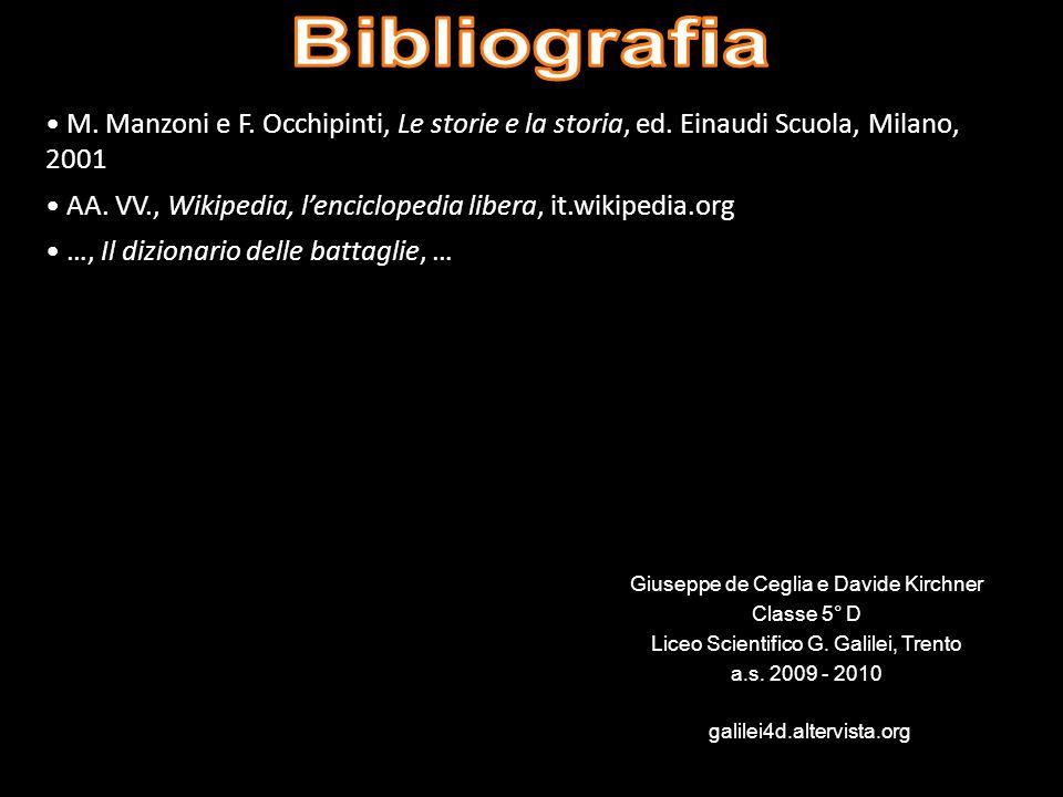 Bibliografia M. Manzoni e F. Occhipinti, Le storie e la storia, ed. Einaudi Scuola, Milano, 2001.