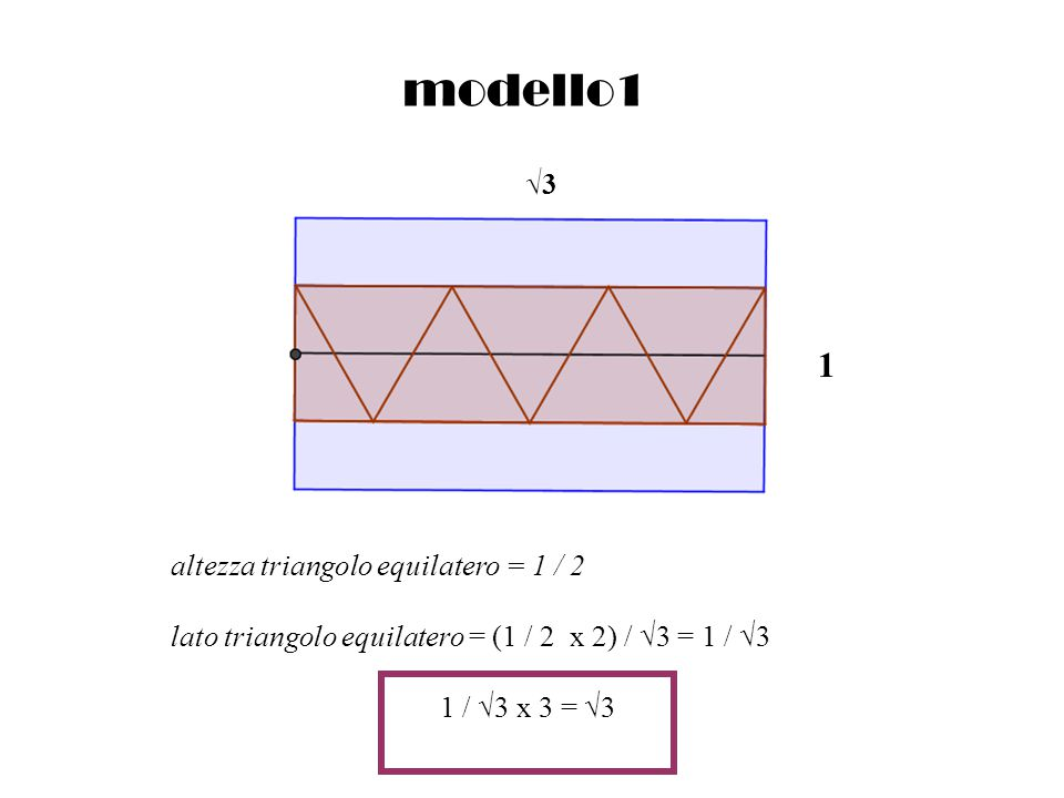 modello1 1 √3 altezza triangolo equilatero = 1 / 2