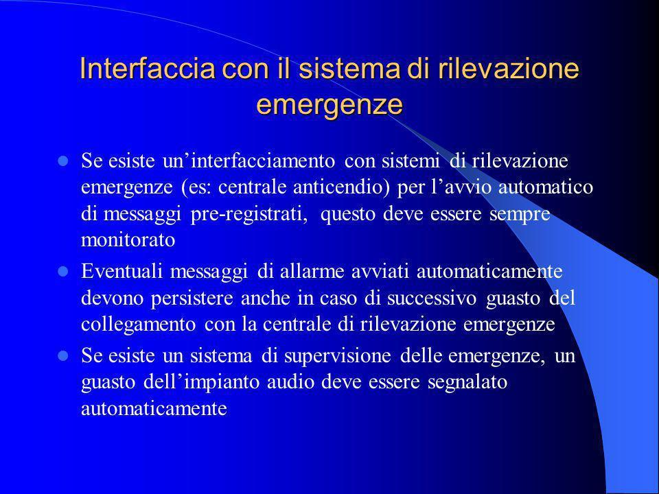 Interfaccia con il sistema di rilevazione emergenze