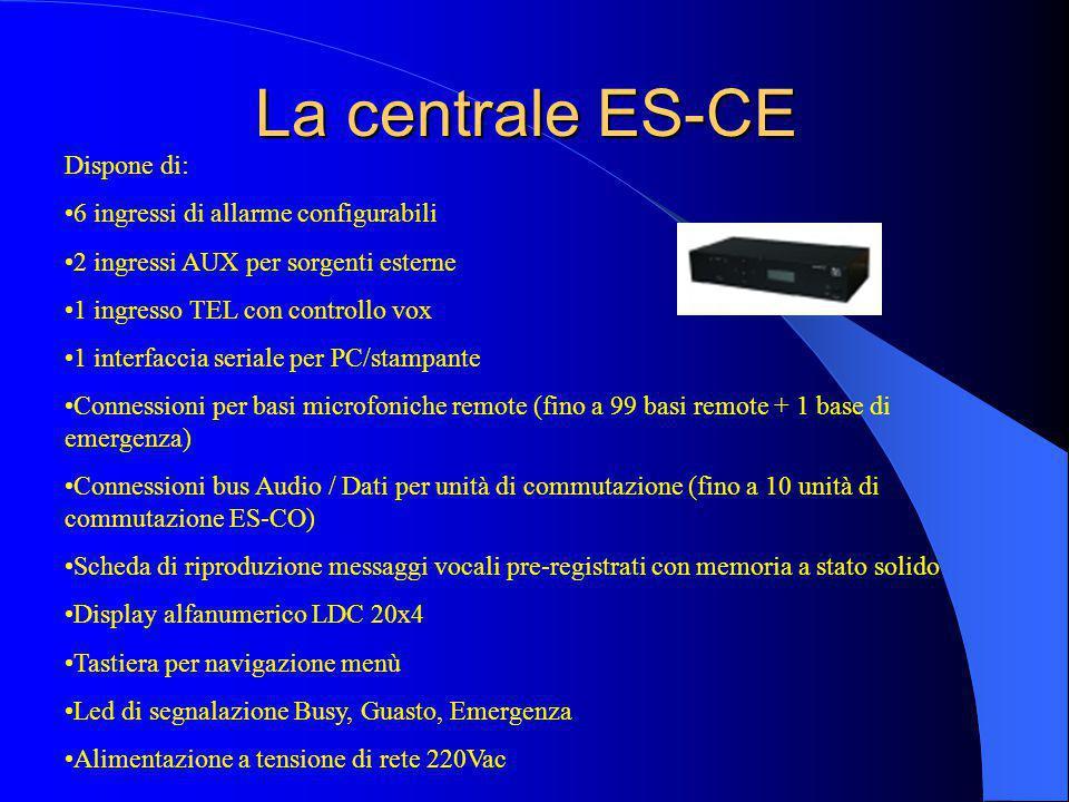 La centrale ES-CE Dispone di: 6 ingressi di allarme configurabili