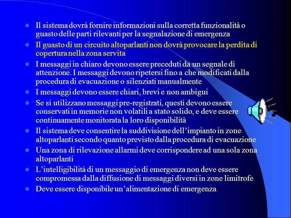 Il sistema dovrà fornire informazioni sulla corretta funzionalità o guasto delle parti rilevanti per la segnalazione di emergenza
