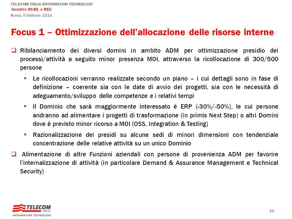 Focus 1 – Ottimizzazione dell'allocazione delle risorse interne