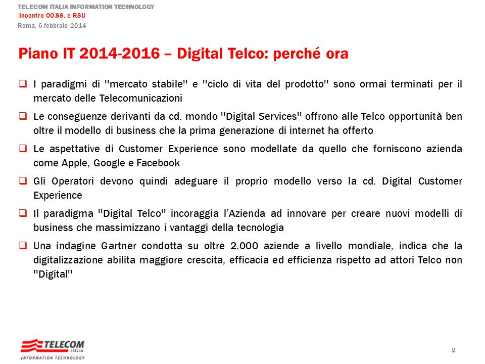 Piano IT 2014-2016 – Digital Telco: perché ora