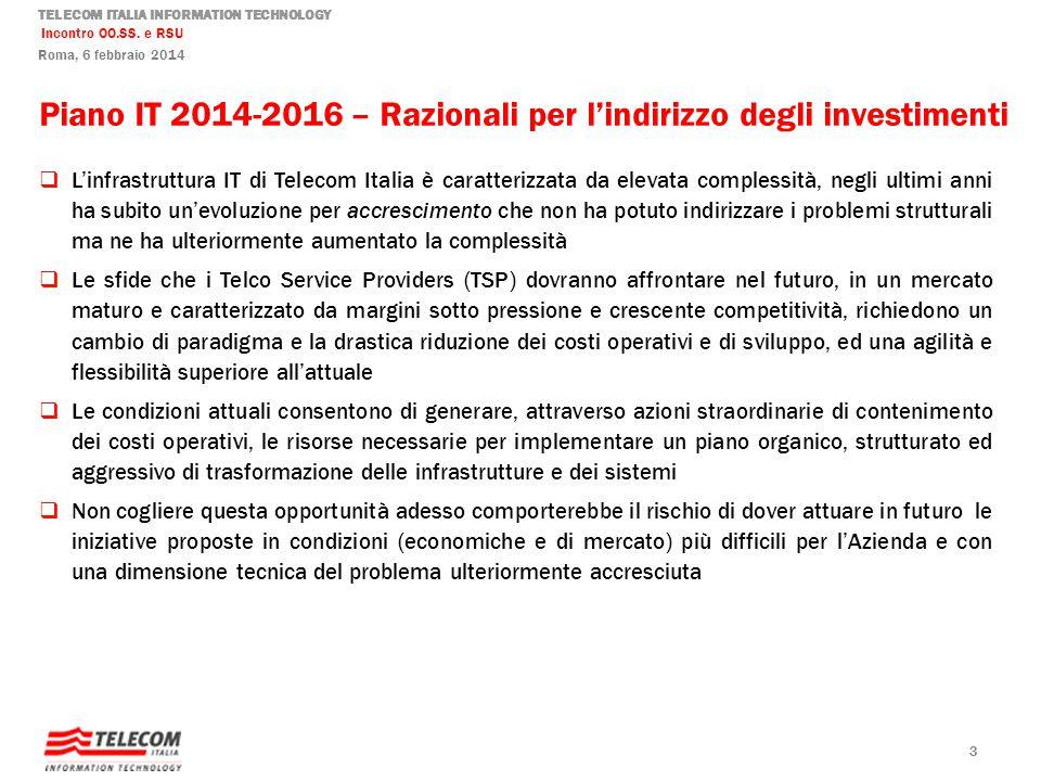Piano IT 2014-2016 – Razionali per l'indirizzo degli investimenti