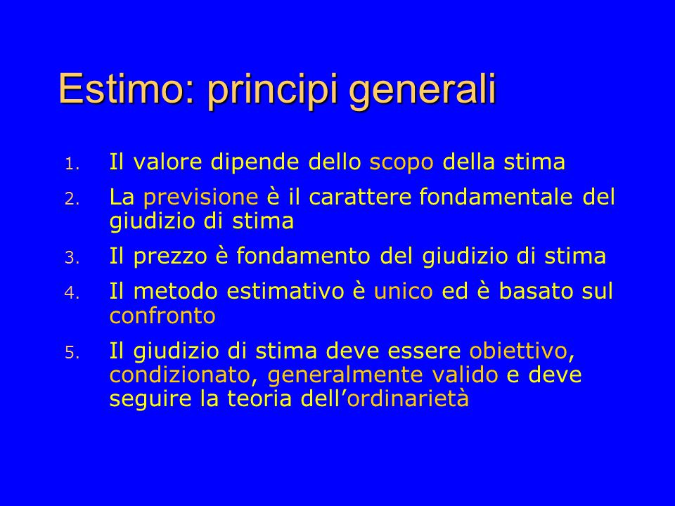 Estimo: principi generali