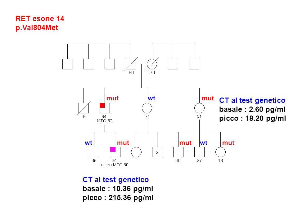 RET esone 14 p.Val804Met CT al test genetico basale : 2.60 pg/ml