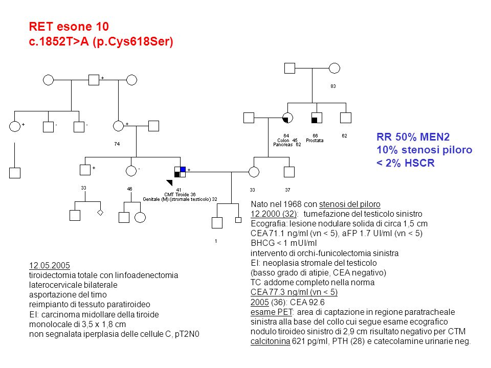 RET esone 10 c.1852T>A (p.Cys618Ser) RR 50% MEN2 10% stenosi piloro