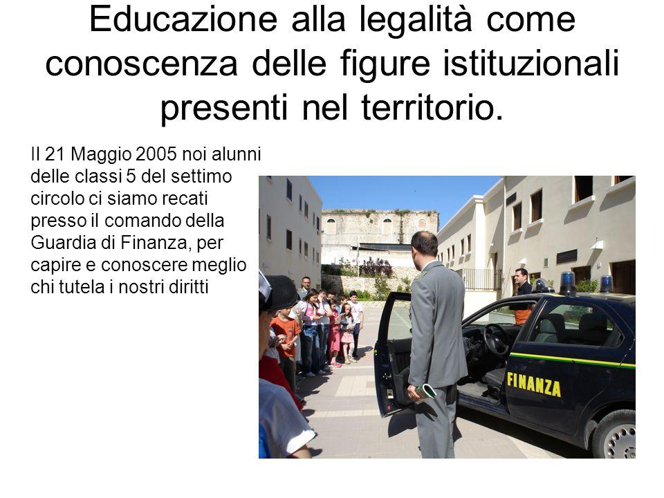 Educazione alla legalità come conoscenza delle figure istituzionali presenti nel territorio.