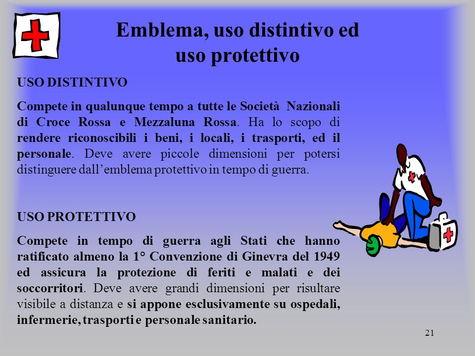 Emblema, uso distintivo ed uso protettivo
