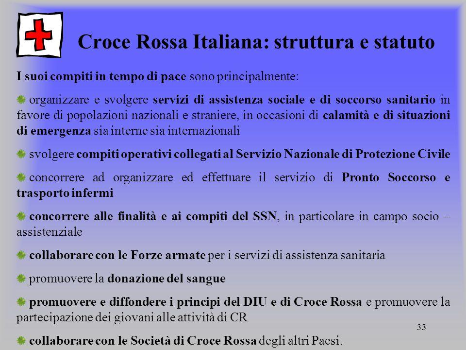 Croce Rossa Italiana: struttura e statuto
