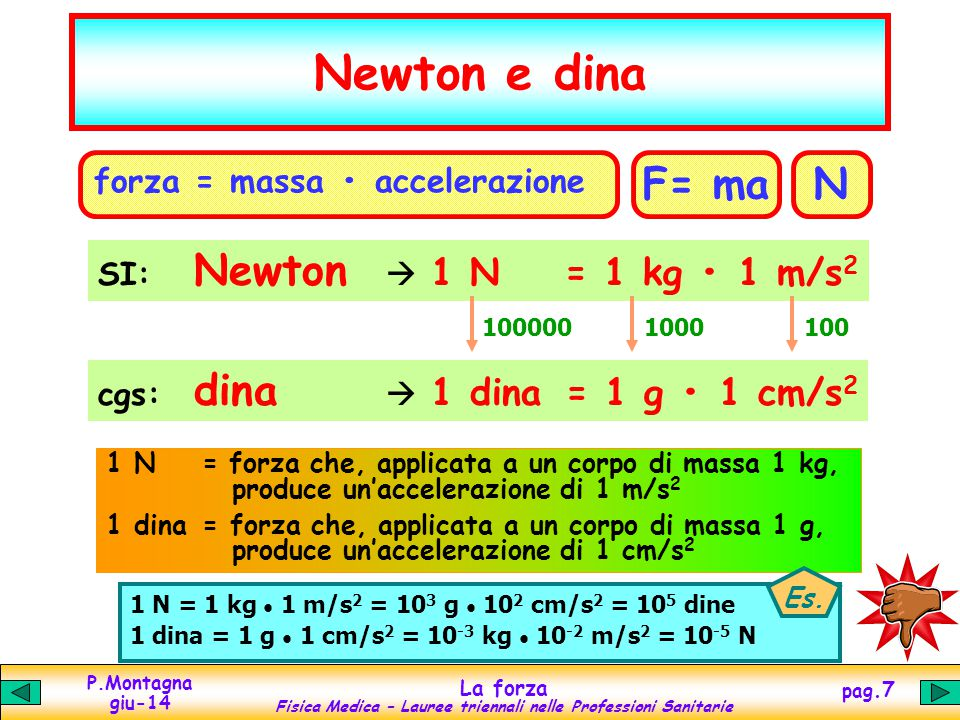 Newton e dina F= ma N forza = massa • accelerazione