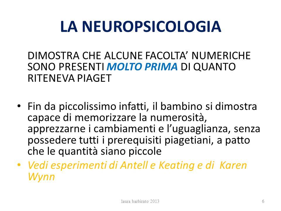 LA NEUROPSICOLOGIA DIMOSTRA CHE ALCUNE FACOLTA' NUMERICHE SONO PRESENTI MOLTO PRIMA DI QUANTO RITENEVA PIAGET.