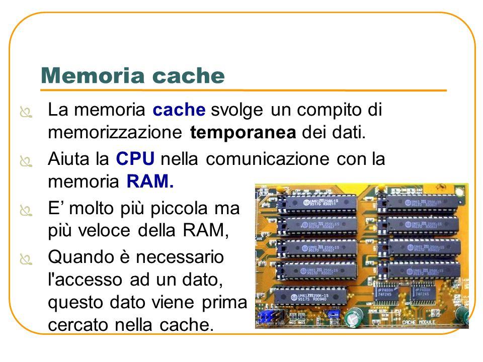 Memoria cache La memoria cache svolge un compito di memorizzazione temporanea dei dati. Aiuta la CPU nella comunicazione con la memoria RAM.
