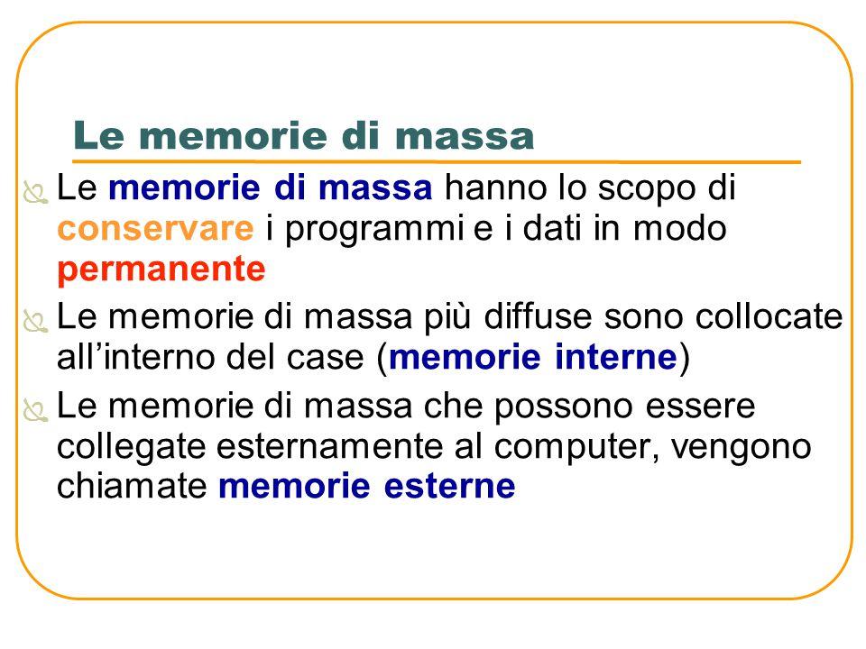 Le memorie di massa Le memorie di massa hanno lo scopo di conservare i programmi e i dati in modo permanente.