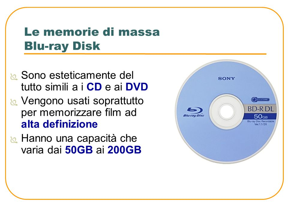 Le memorie di massa Blu-ray Disk