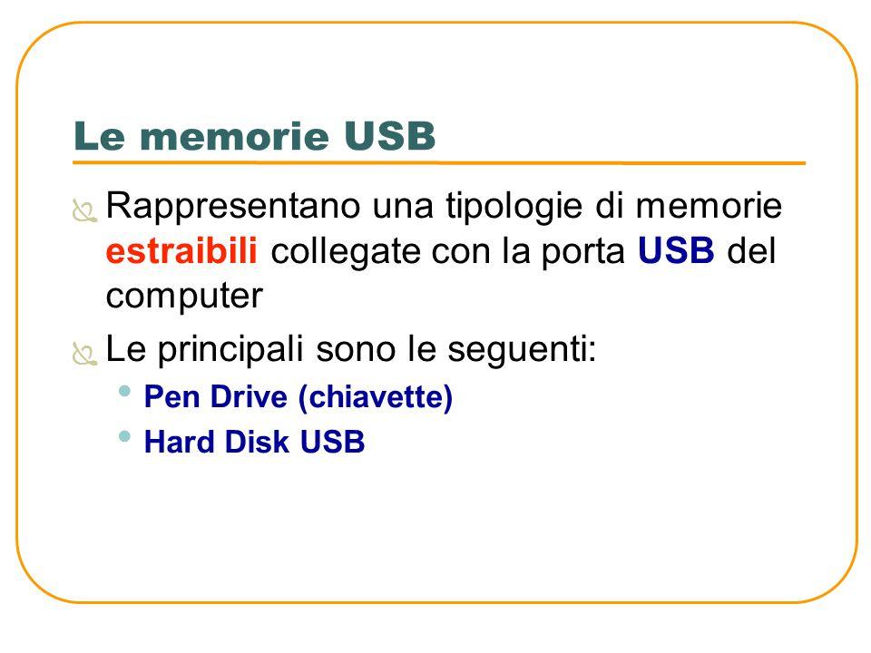 Le memorie USB Rappresentano una tipologie di memorie estraibili collegate con la porta USB del computer.