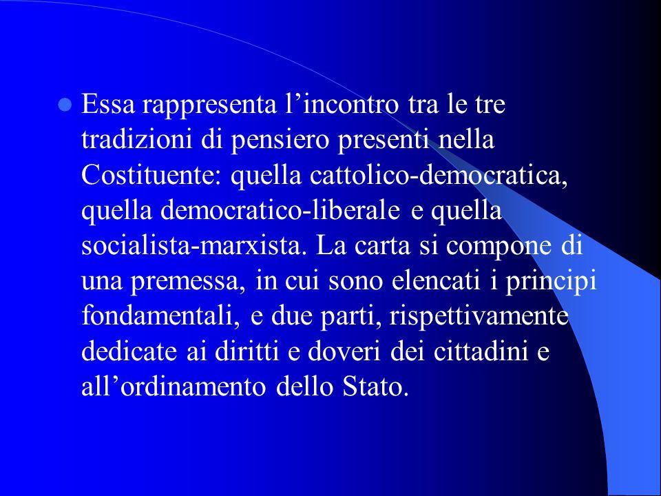Essa rappresenta l'incontro tra le tre tradizioni di pensiero presenti nella Costituente: quella cattolico-democratica, quella democratico-liberale e quella socialista-marxista.