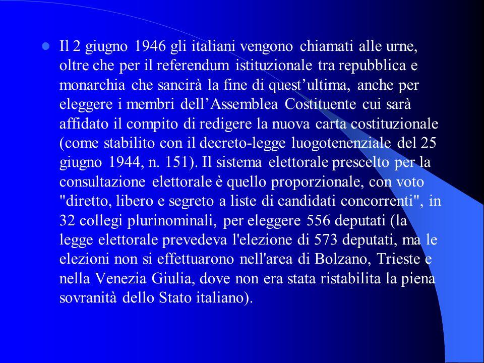 Il 2 giugno 1946 gli italiani vengono chiamati alle urne, oltre che per il referendum istituzionale tra repubblica e monarchia che sancirà la fine di quest'ultima, anche per eleggere i membri dell'Assemblea Costituente cui sarà affidato il compito di redigere la nuova carta costituzionale (come stabilito con il decreto-legge luogotenenziale del 25 giugno 1944, n.