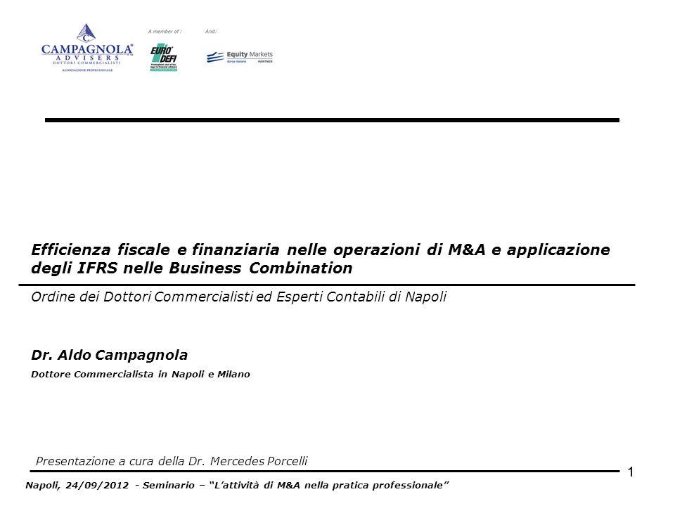 Efficienza fiscale e finanziaria nelle operazioni di M&A e applicazione degli IFRS nelle Business Combination