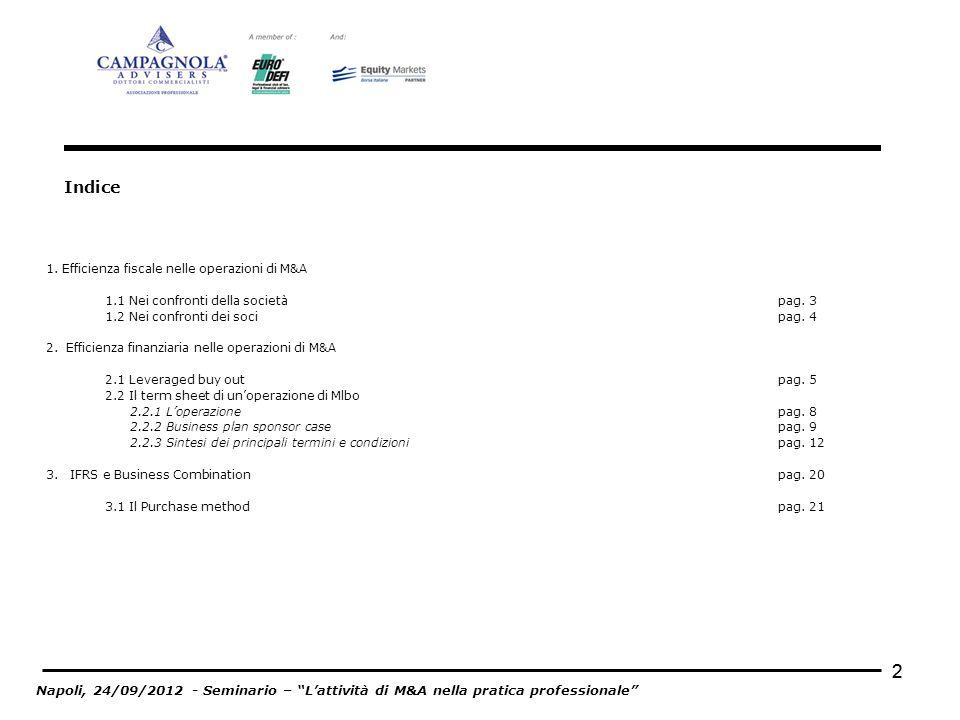 Indice 1. Efficienza fiscale nelle operazioni di M&A. 1.1 Nei confronti della società pag. 3.