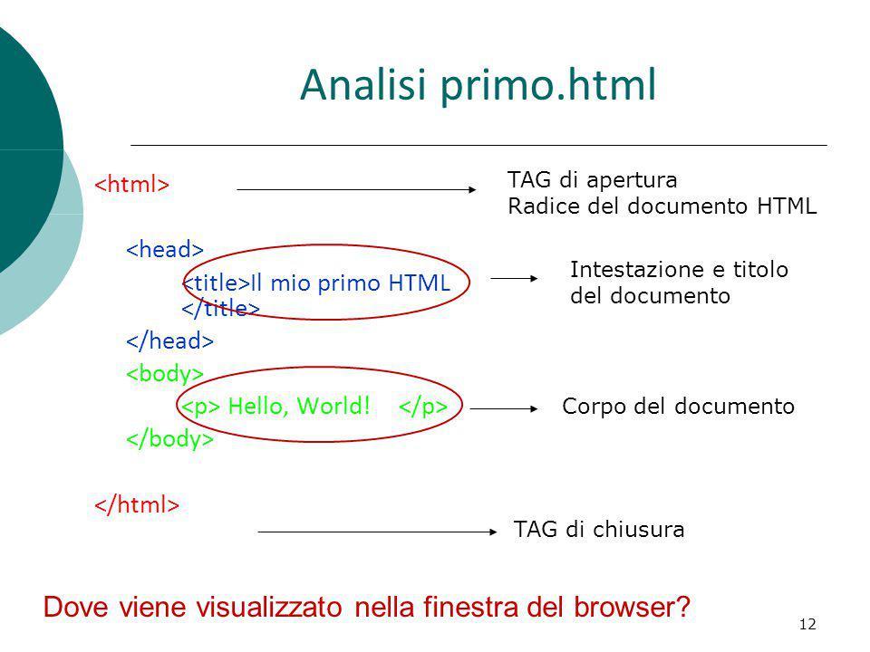 Analisi primo.html Dove viene visualizzato nella finestra del browser