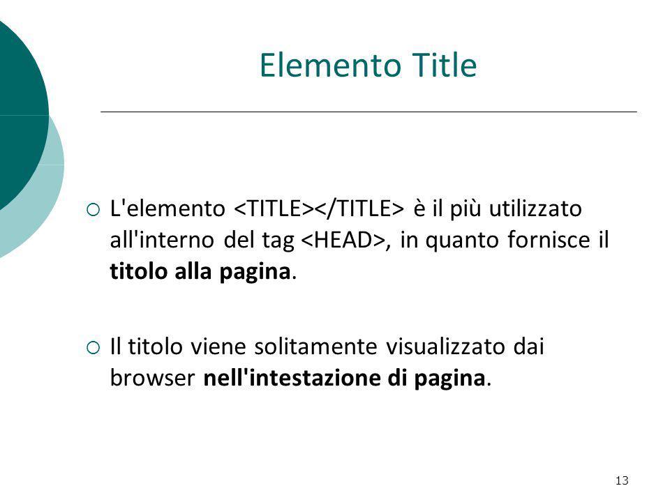 Elemento Title L elemento <TITLE></TITLE> è il più utilizzato all interno del tag <HEAD>, in quanto fornisce il titolo alla pagina.