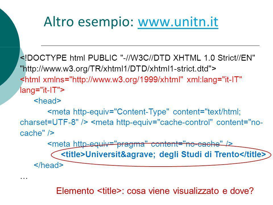 Altro esempio: www.unitn.it
