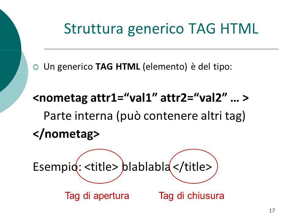 Struttura generico TAG HTML