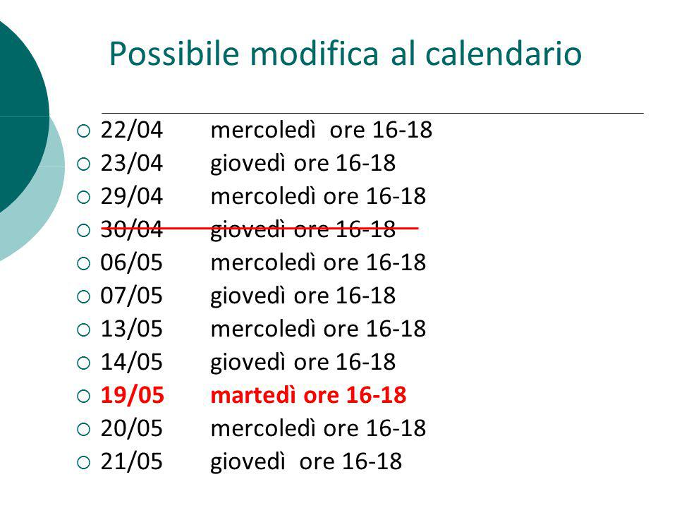 Possibile modifica al calendario