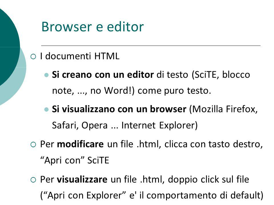 Browser e editor I documenti HTML