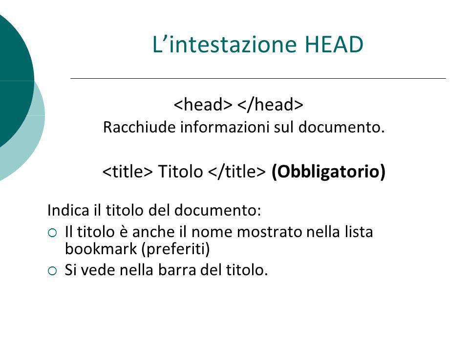 L'intestazione HEAD <head> </head>