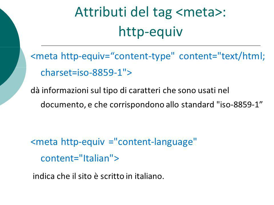 Attributi del tag <meta>: http-equiv
