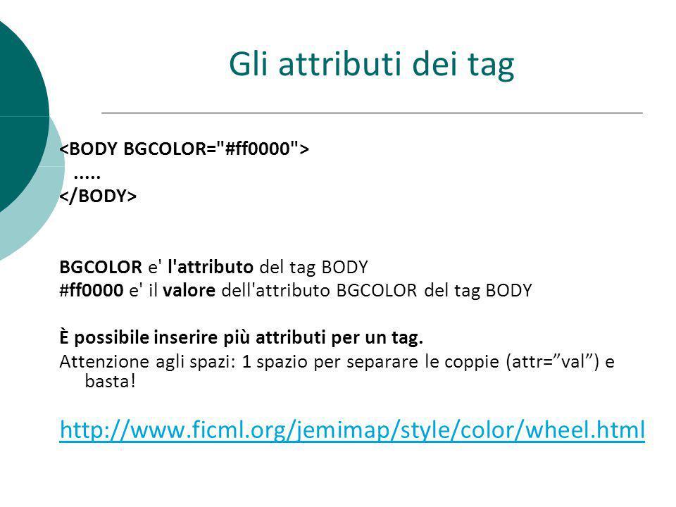 Gli attributi dei tag <BODY BGCOLOR= #ff0000 > ..... </BODY> BGCOLOR e l attributo del tag BODY.